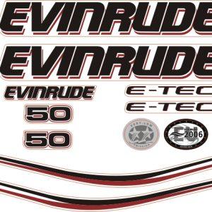 Evinrude 50 Hp siyah Kapaklı kıçtan takma outboard motorlar için Sticker etiket E-tec